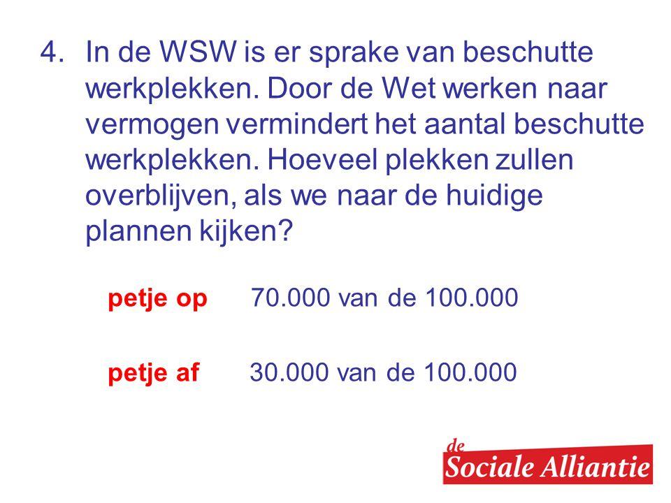 4. In de WSW is er sprake van beschutte werkplekken