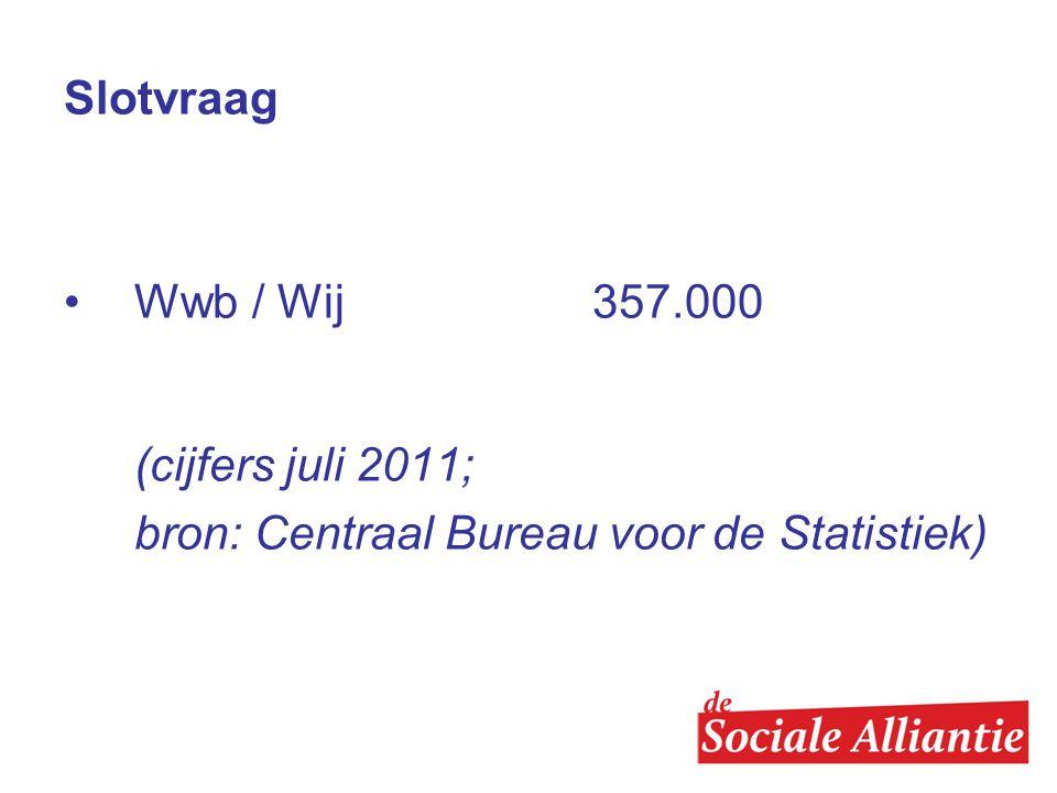 Slotvraag Wwb / Wij 357.000 (cijfers juli 2011; bron: Centraal Bureau voor de Statistiek)