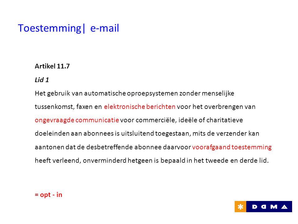 Toestemming| e-mail Artikel 11.7 Lid 1