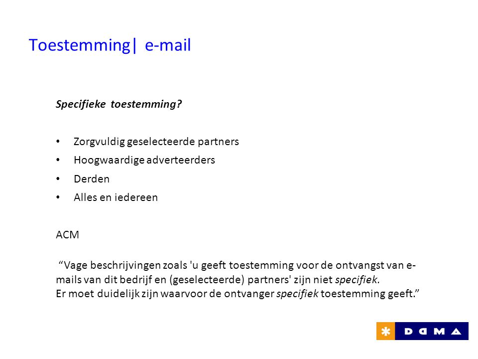 Toestemming| e-mail Specifieke toestemming