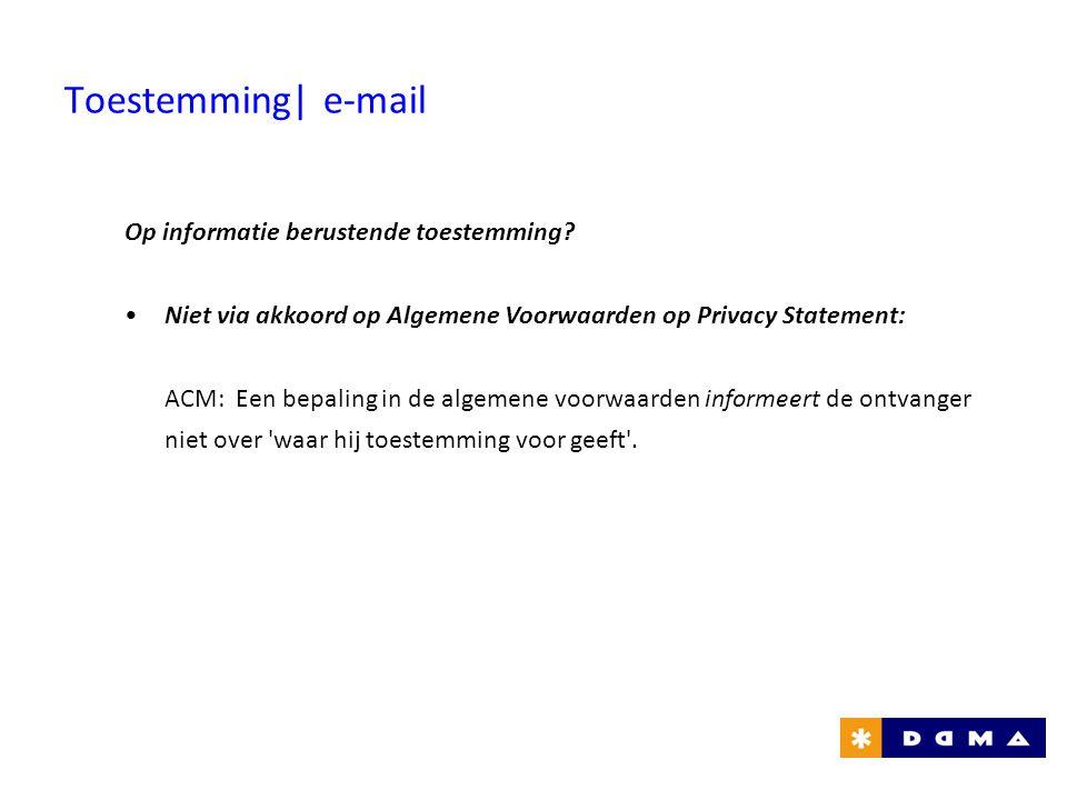 Toestemming| e-mail Op informatie berustende toestemming