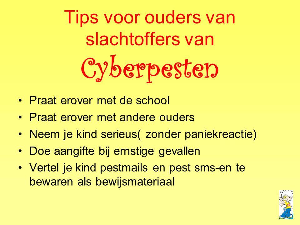 Tips voor ouders van slachtoffers van Cyberpesten