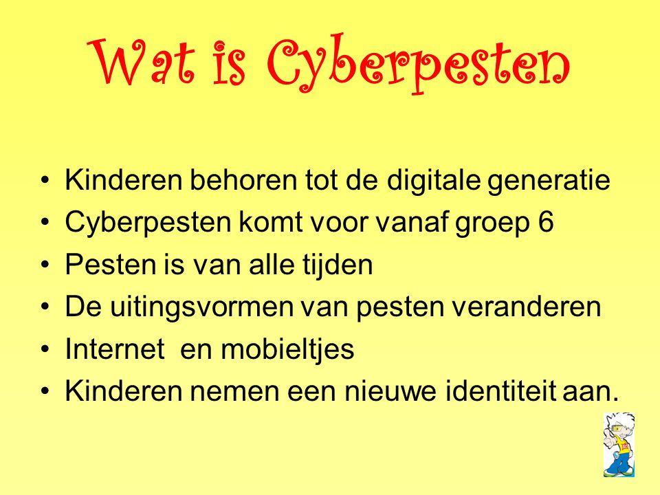 Wat is Cyberpesten Kinderen behoren tot de digitale generatie