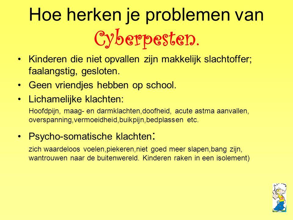Hoe herken je problemen van Cyberpesten.