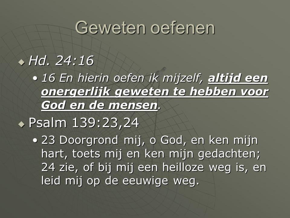 Geweten oefenen Hd. 24:16 Psalm 139:23,24