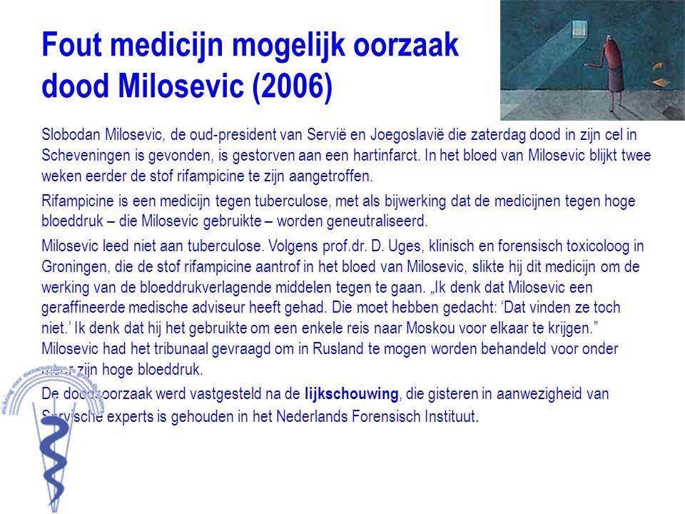 Fout medicijn mogelijk oorzaak dood Milosevic (2006)