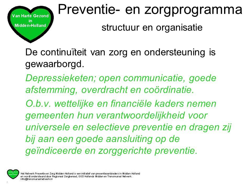 Preventie- en zorgprogramma structuur en organisatie