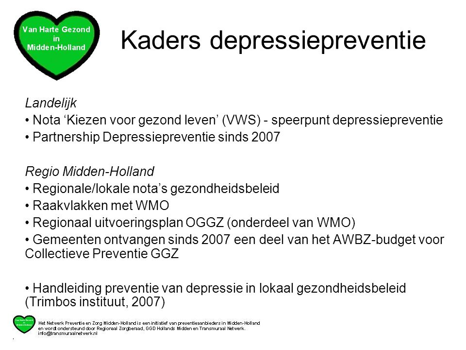Kaders depressiepreventie