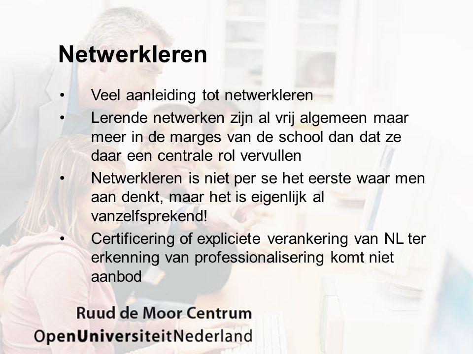 Netwerkleren Veel aanleiding tot netwerkleren