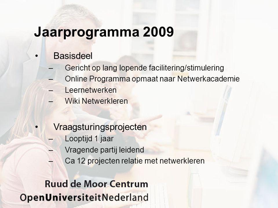 Jaarprogramma 2009 Basisdeel Vraagsturingsprojecten