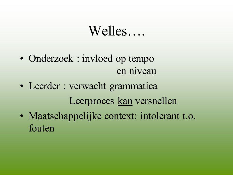 Welles…. Onderzoek : invloed op tempo en niveau