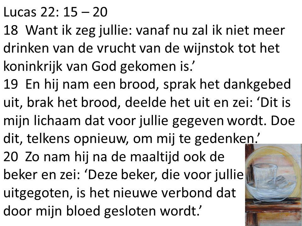 Lucas 22: 15 – 20 18 Want ik zeg jullie: vanaf nu zal ik niet meer drinken van de vrucht van de wijnstok tot het koninkrijk van God gekomen is.' 19 En hij nam een brood, sprak het dankgebed uit, brak het brood, deelde het uit en zei: 'Dit is mijn lichaam dat voor jullie gegeven wordt.