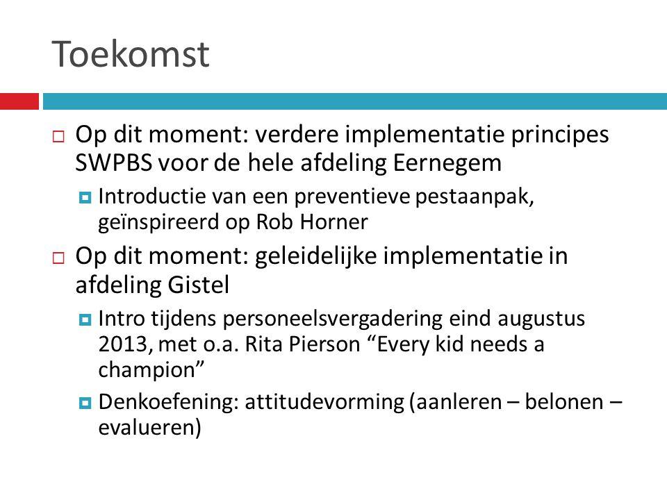 Toekomst Op dit moment: verdere implementatie principes SWPBS voor de hele afdeling Eernegem.