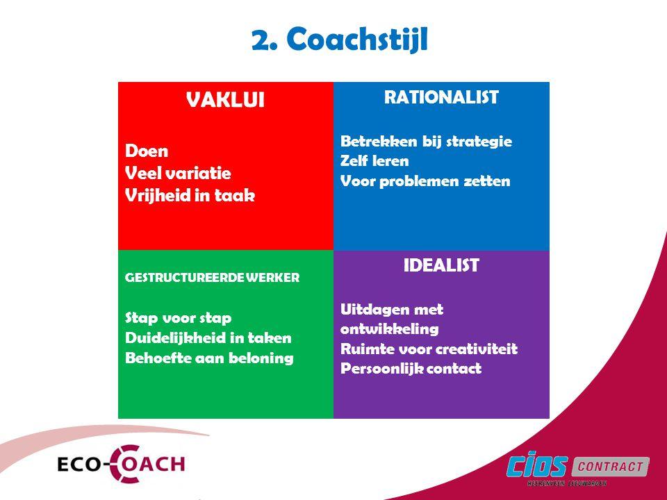 2. Coachstijl VAKLUI RATIONALIST Doen Veel variatie Vrijheid in taak