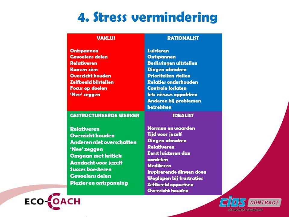 4. Stress vermindering Anderen niet overschatten Omgaan met kritiek