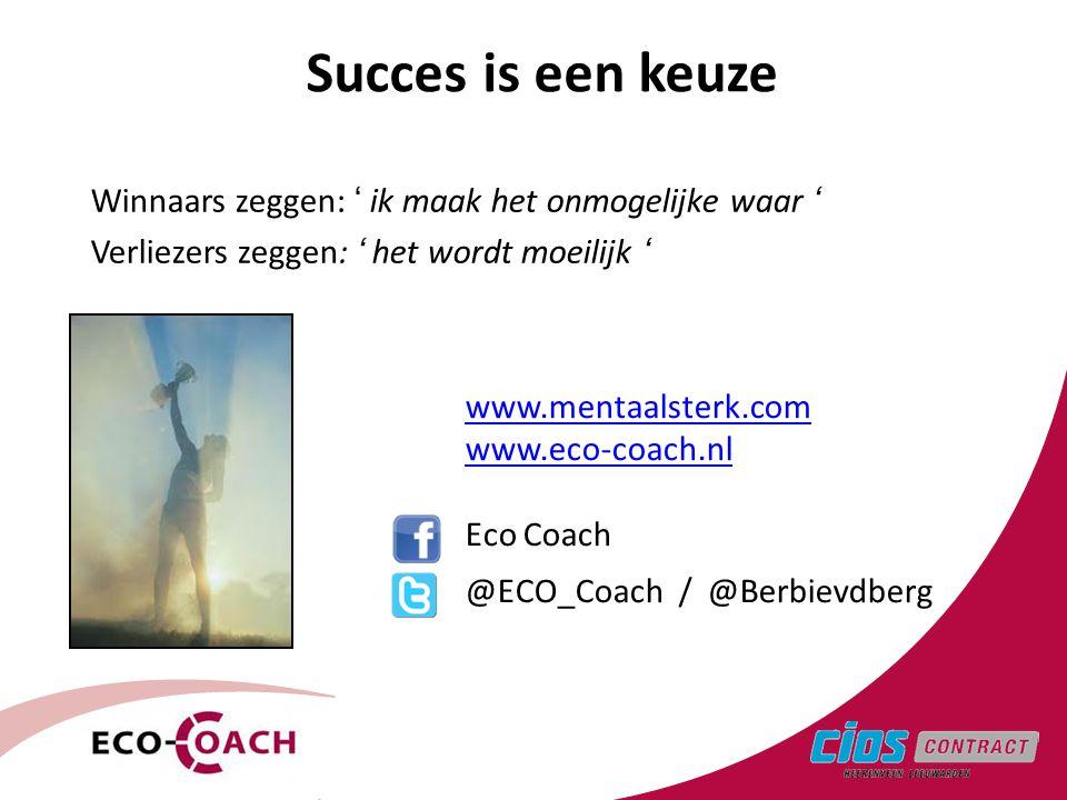 Succes is een keuze Winnaars zeggen: ' ik maak het onmogelijke waar '