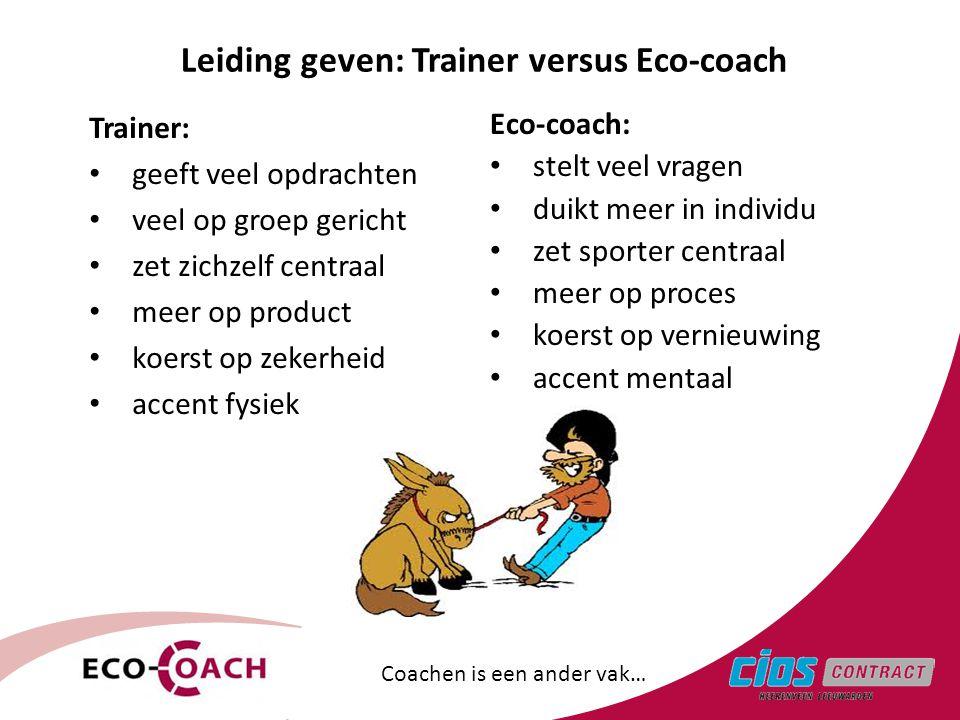 Leiding geven: Trainer versus Eco-coach