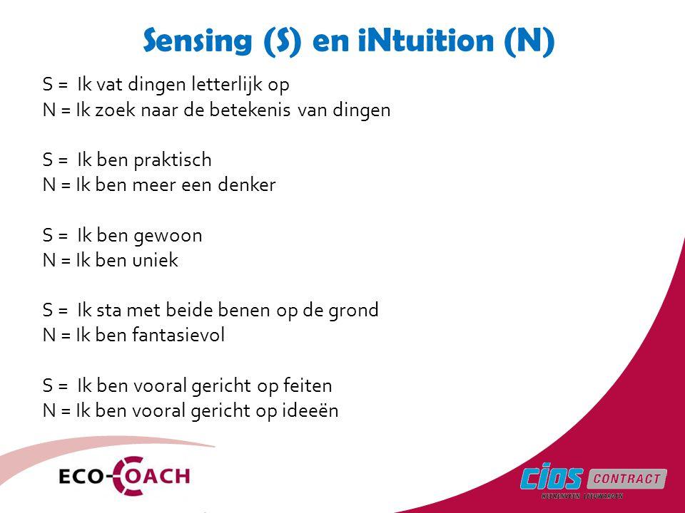 Sensing (S) en iNtuition (N)
