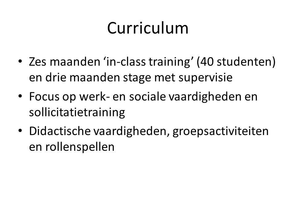 Curriculum Zes maanden 'in-class training' (40 studenten) en drie maanden stage met supervisie.