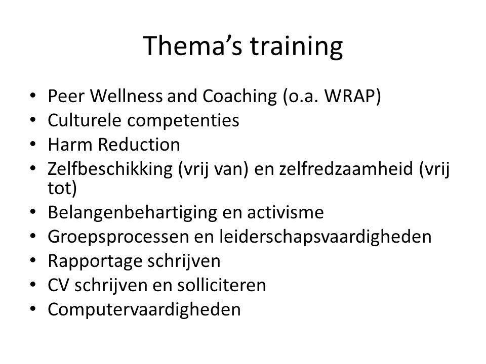 Thema's training Peer Wellness and Coaching (o.a. WRAP)