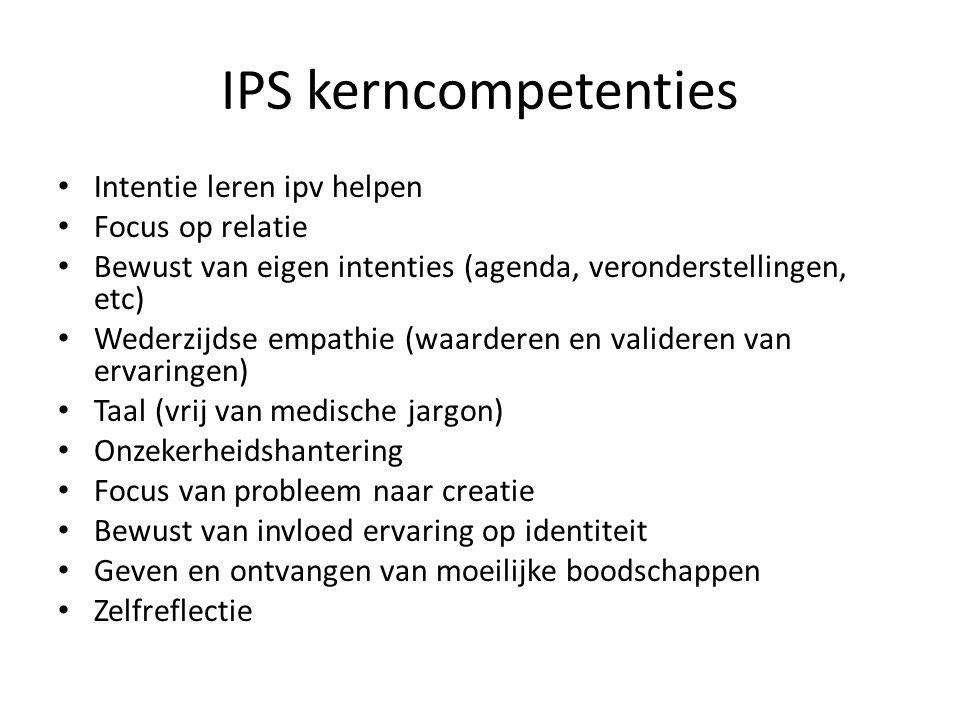 IPS kerncompetenties Intentie leren ipv helpen Focus op relatie