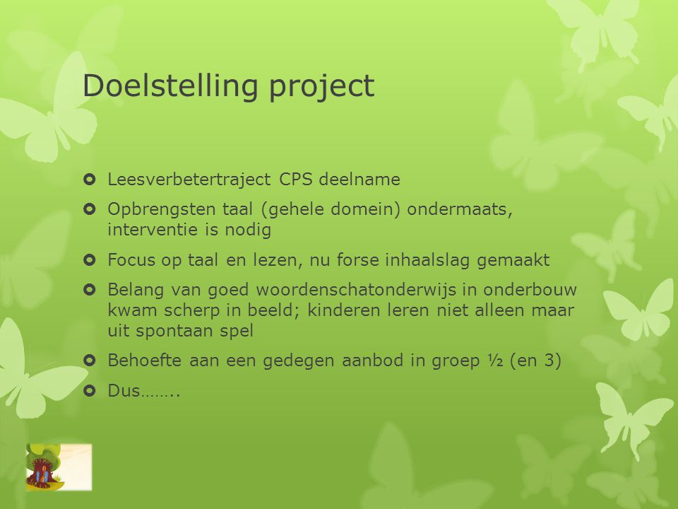 Doelstelling project Leesverbetertraject CPS deelname