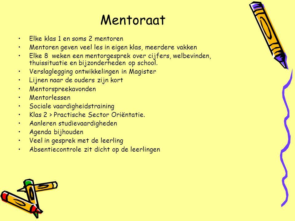 Mentoraat Elke klas 1 en soms 2 mentoren