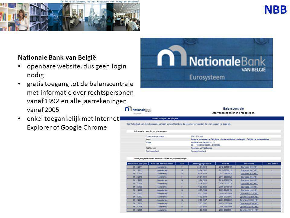 NBB Nationale Bank van België openbare website, dus geen login nodig