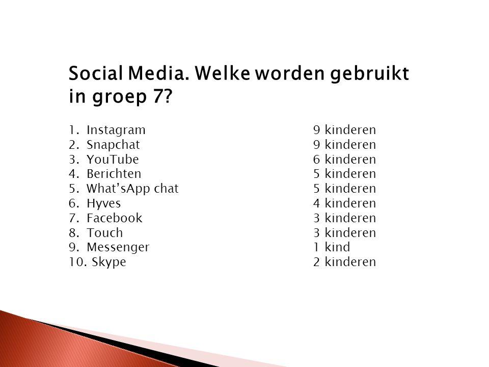 Social Media. Welke worden gebruikt in groep 7