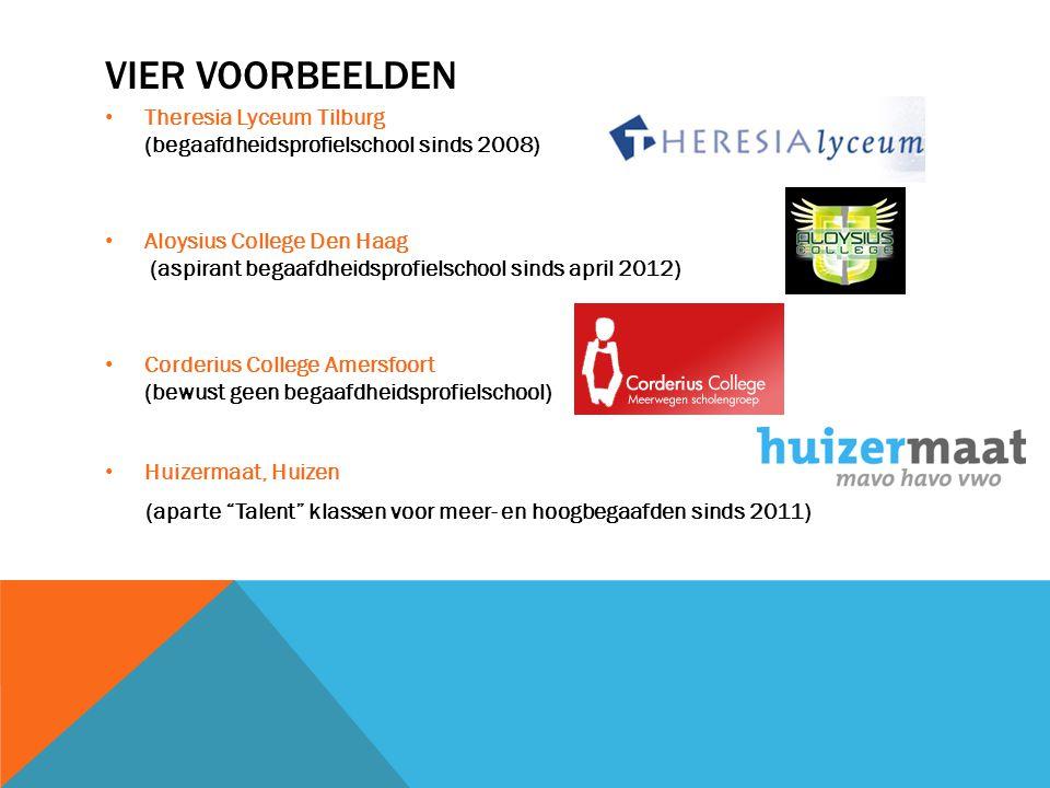 Vier voorbeelden Theresia Lyceum Tilburg (begaafdheidsprofielschool sinds 2008)