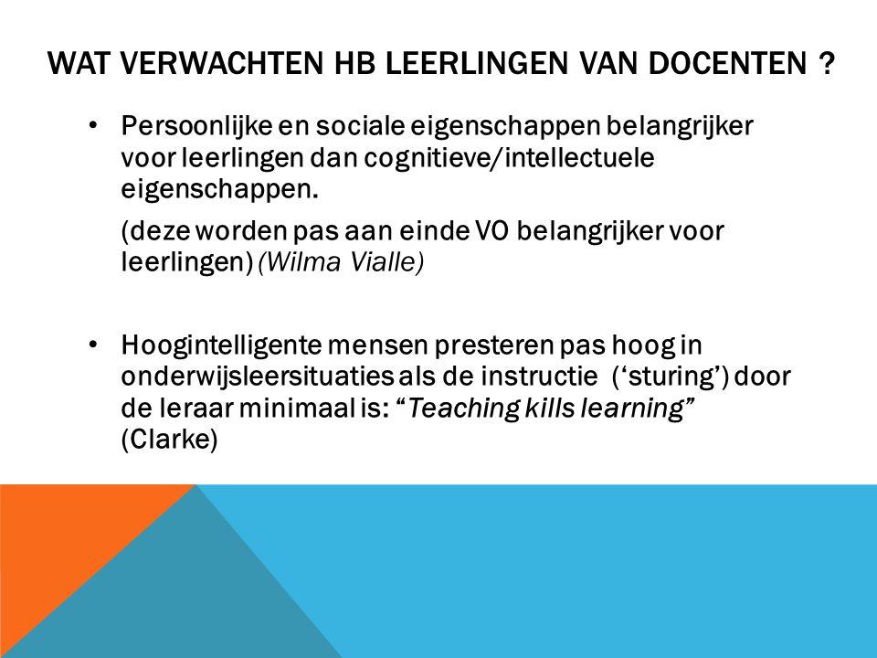 Wat verwachten HB leerlingen van docenten