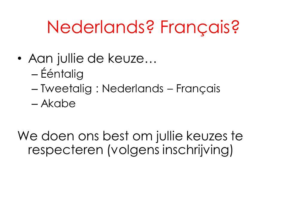 Nederlands Français Aan jullie de keuze…