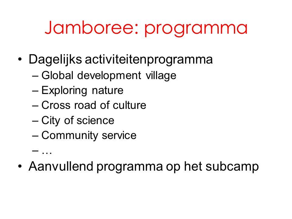 Jamboree: programma Dagelijks activiteitenprogramma