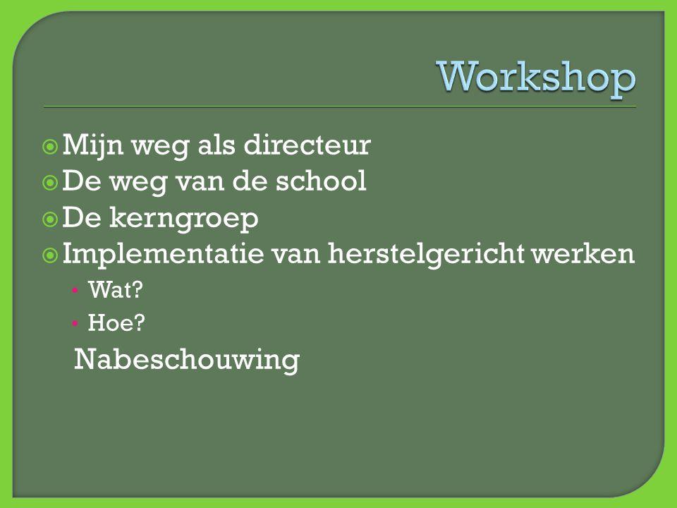 Workshop Mijn weg als directeur De weg van de school De kerngroep