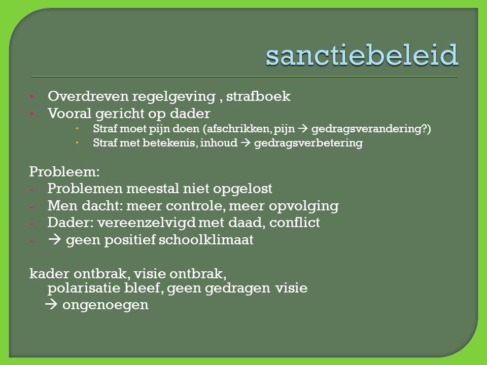 sanctiebeleid Overdreven regelgeving , strafboek