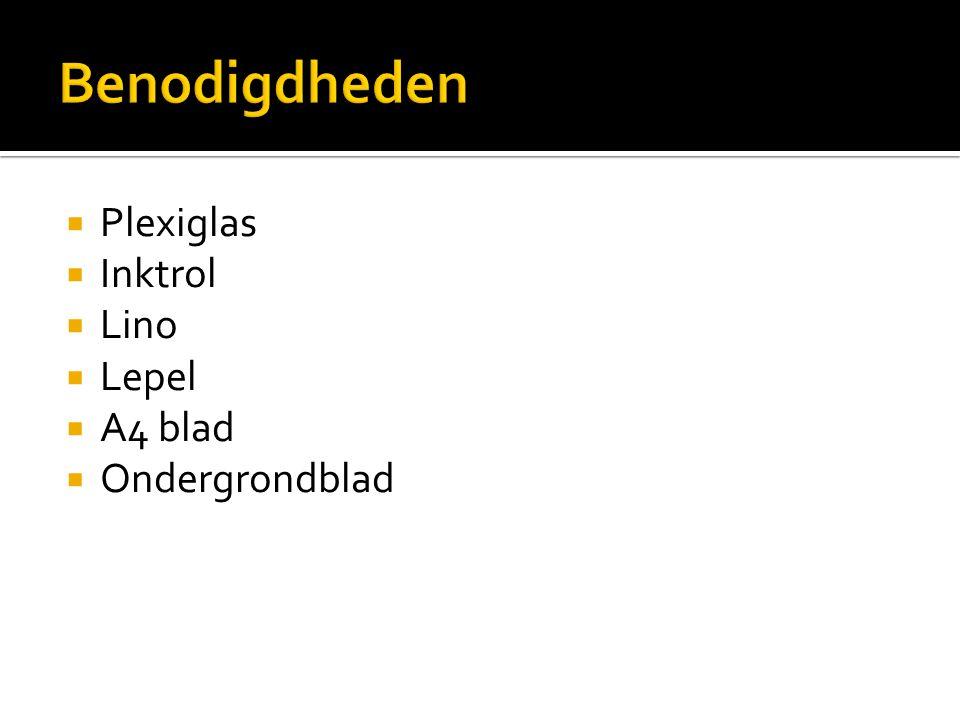 Benodigdheden Plexiglas Inktrol Lino Lepel A4 blad Ondergrondblad