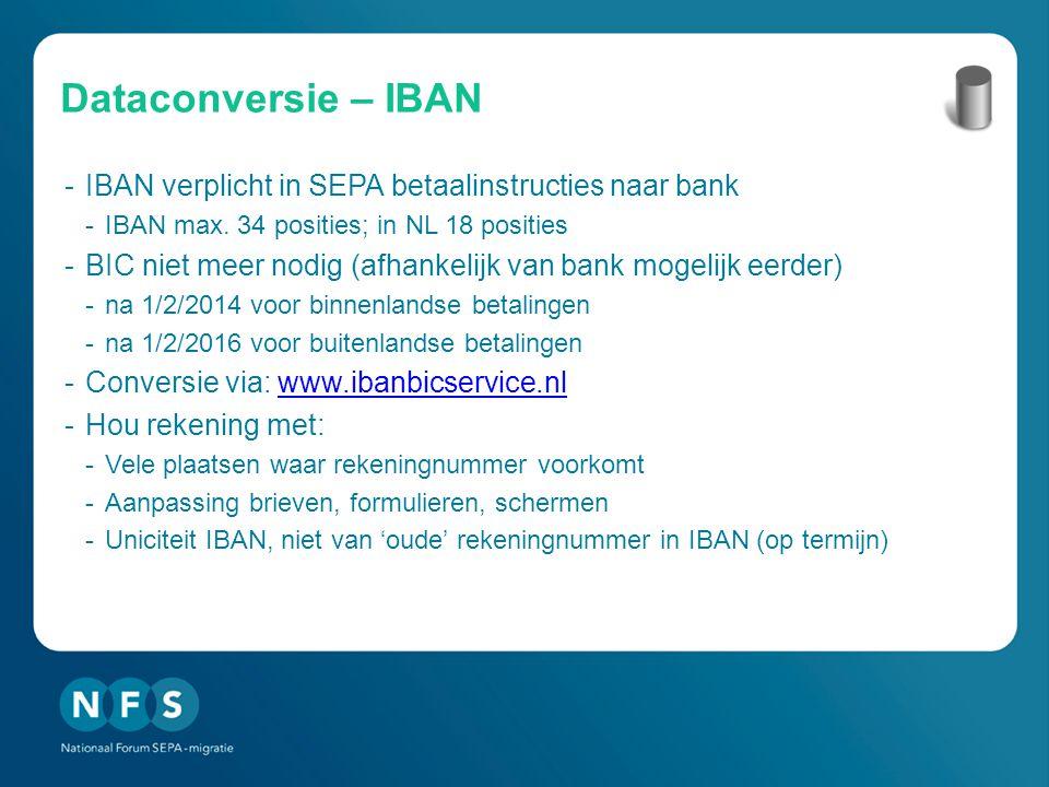 Dataconversie – IBAN IBAN verplicht in SEPA betaalinstructies naar bank. IBAN max. 34 posities; in NL 18 posities.