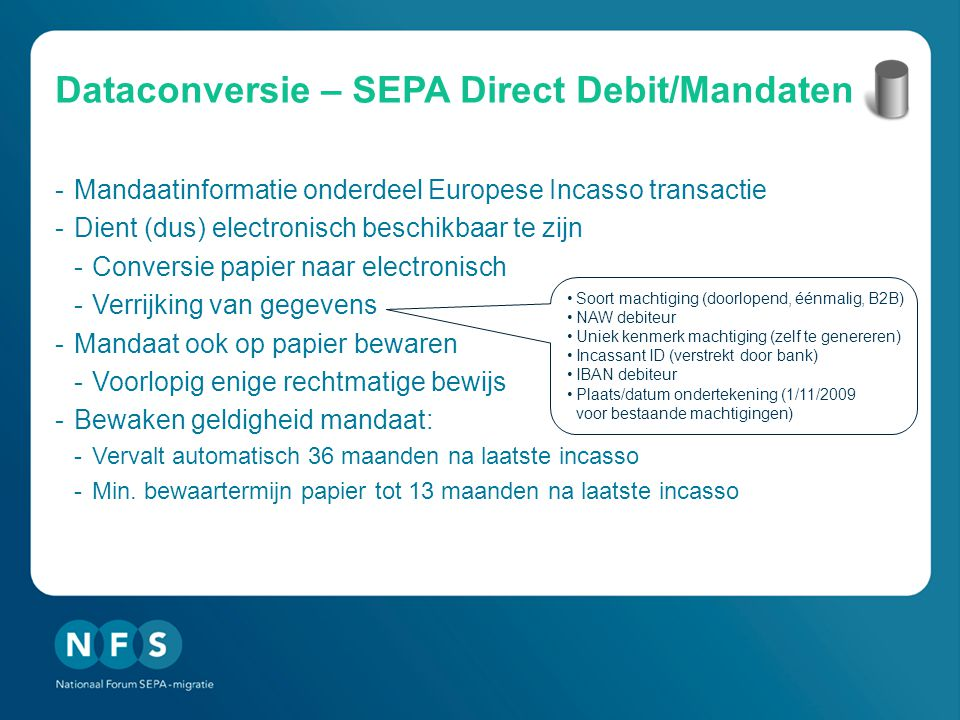 Dataconversie – SEPA Direct Debit/Mandaten