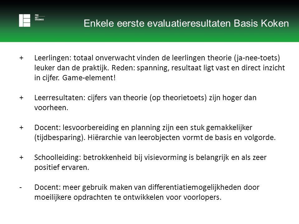Enkele eerste evaluatieresultaten Basis Koken