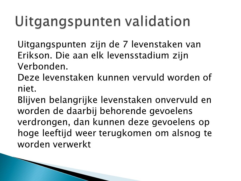 Uitgangspunten validation