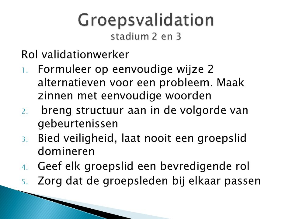 Groepsvalidation stadium 2 en 3