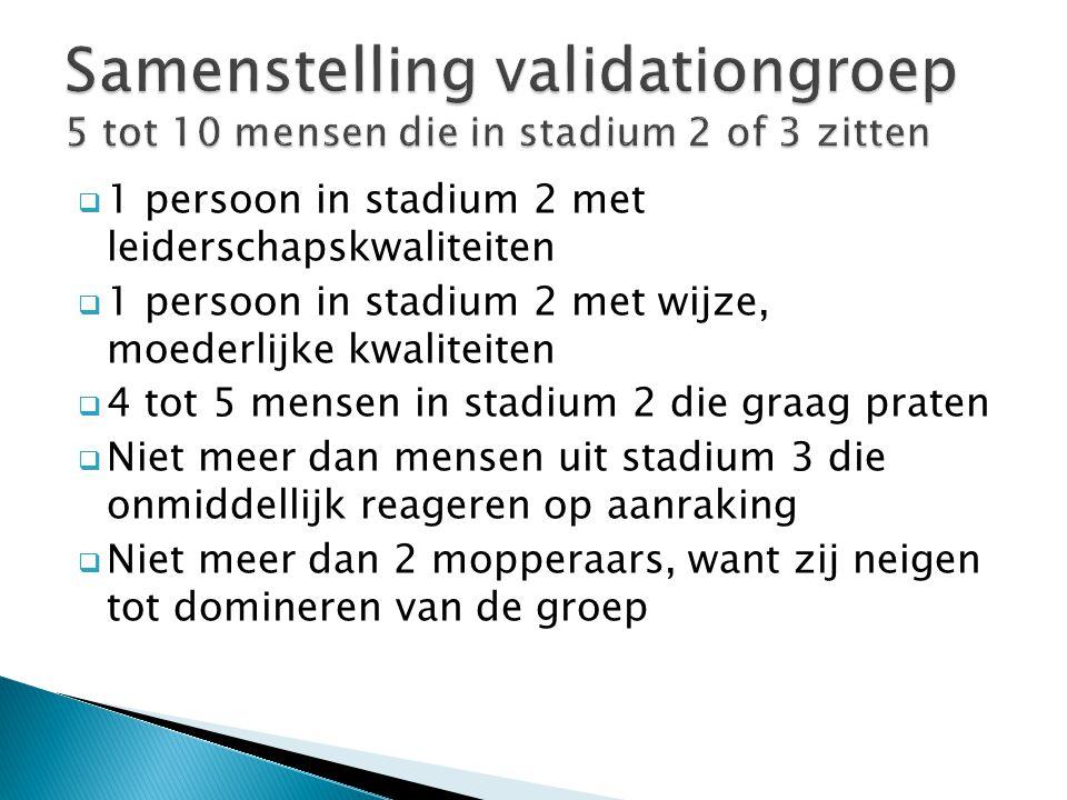 Samenstelling validationgroep 5 tot 10 mensen die in stadium 2 of 3 zitten