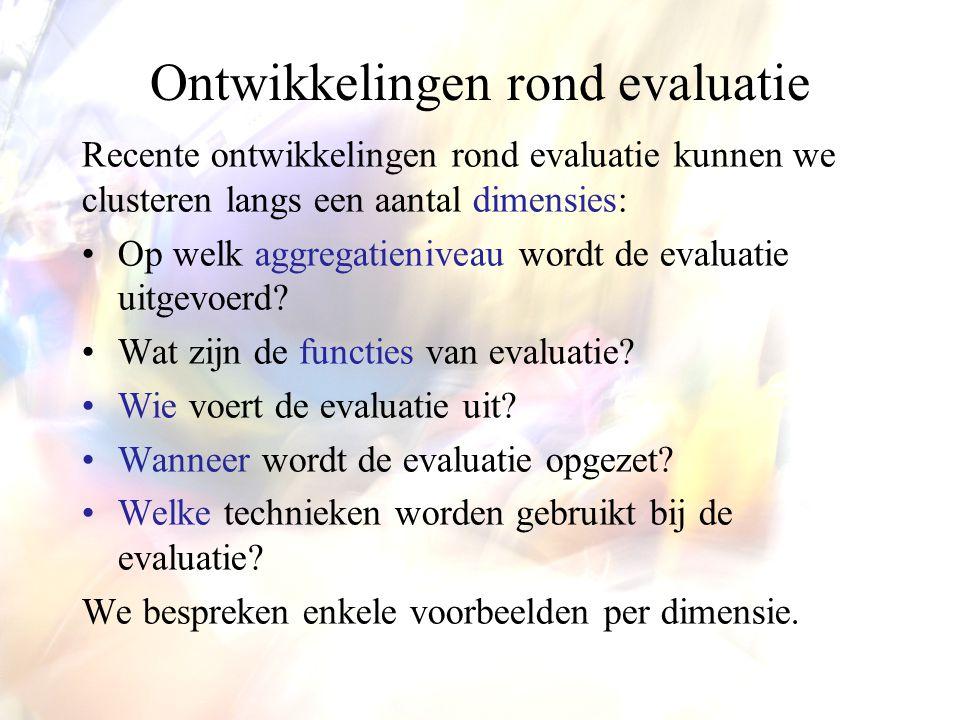 Ontwikkelingen rond evaluatie