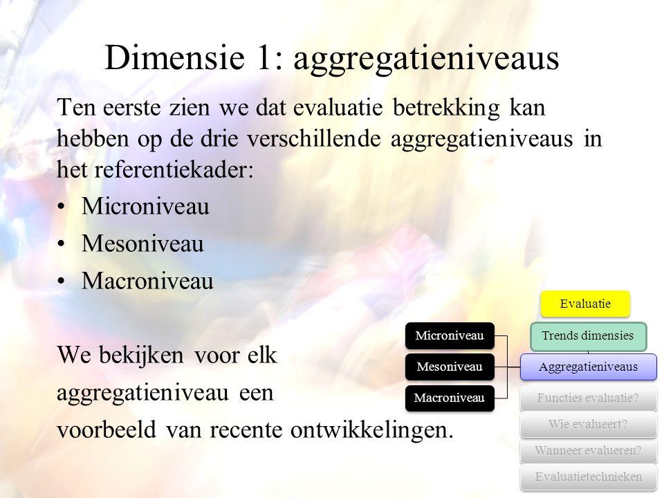Dimensie 1: aggregatieniveaus