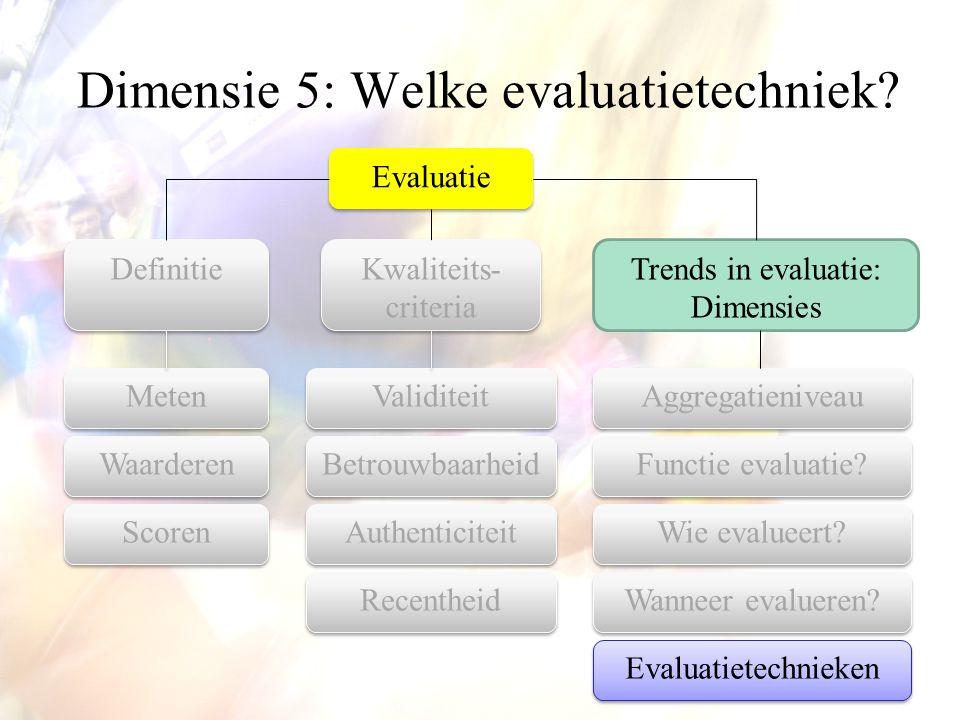Dimensie 5: Welke evaluatietechniek