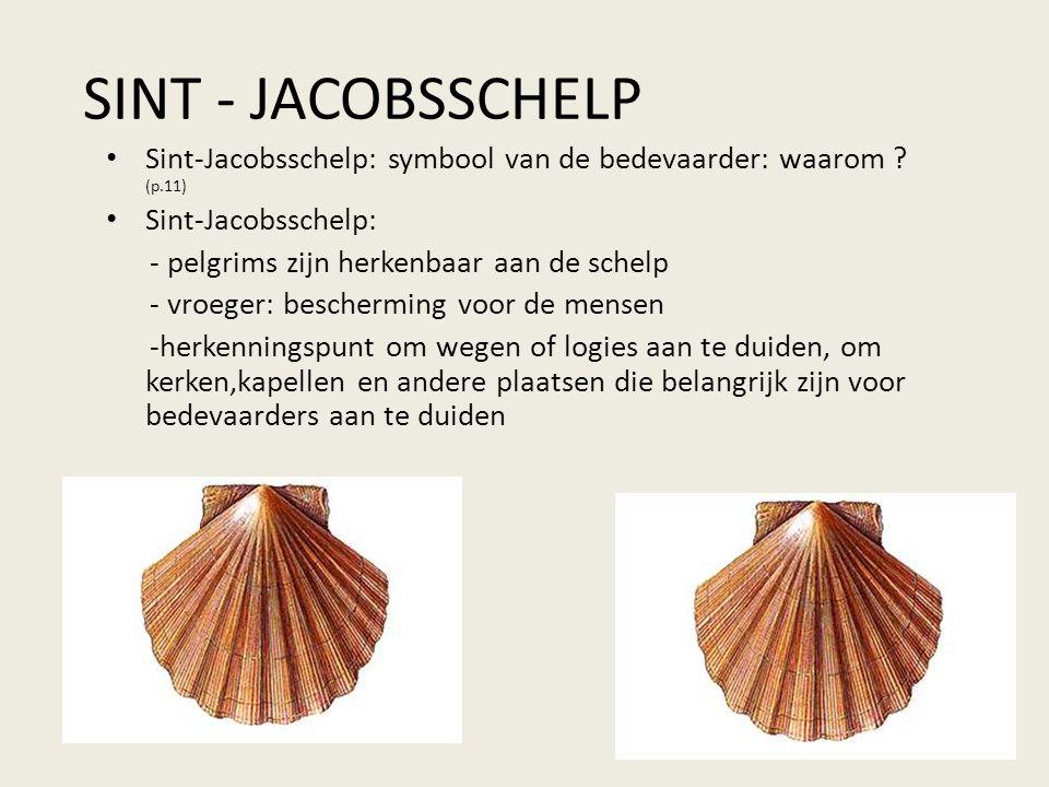 SINT - JACOBSSCHELP Sint-Jacobsschelp: symbool van de bedevaarder: waarom (p.11) Sint-Jacobsschelp: