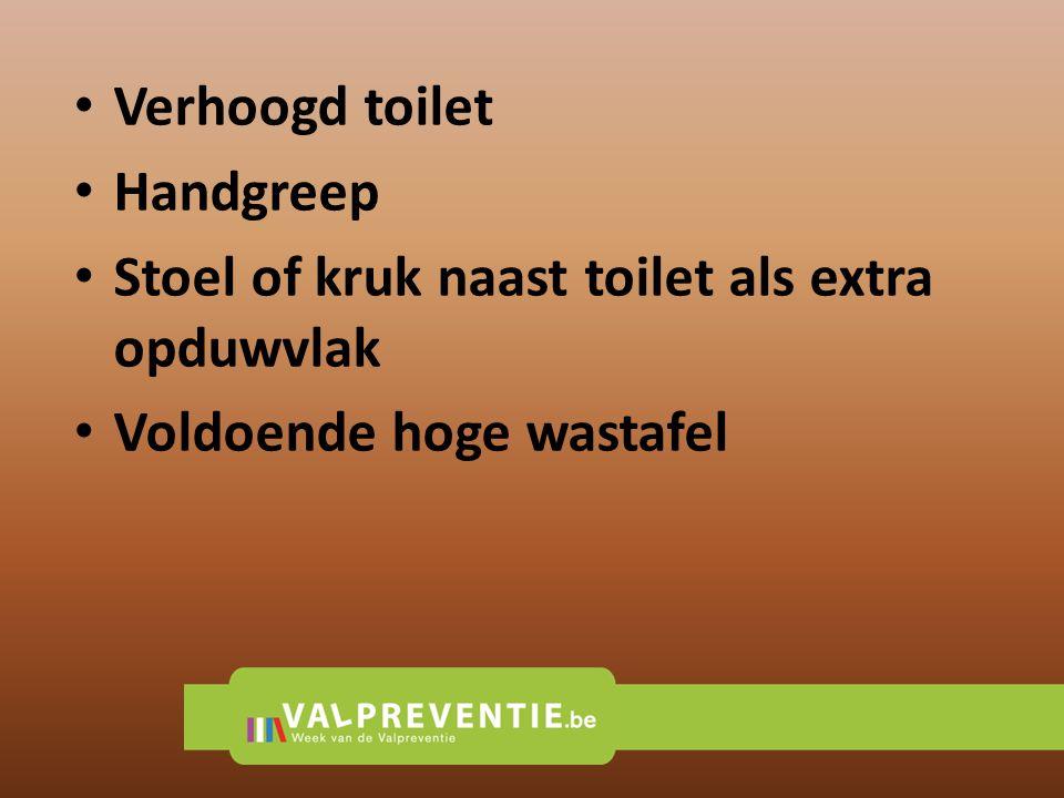 Verhoogd toilet Handgreep Stoel of kruk naast toilet als extra opduwvlak Voldoende hoge wastafel