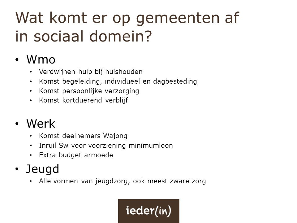 Wat komt er op gemeenten af in sociaal domein
