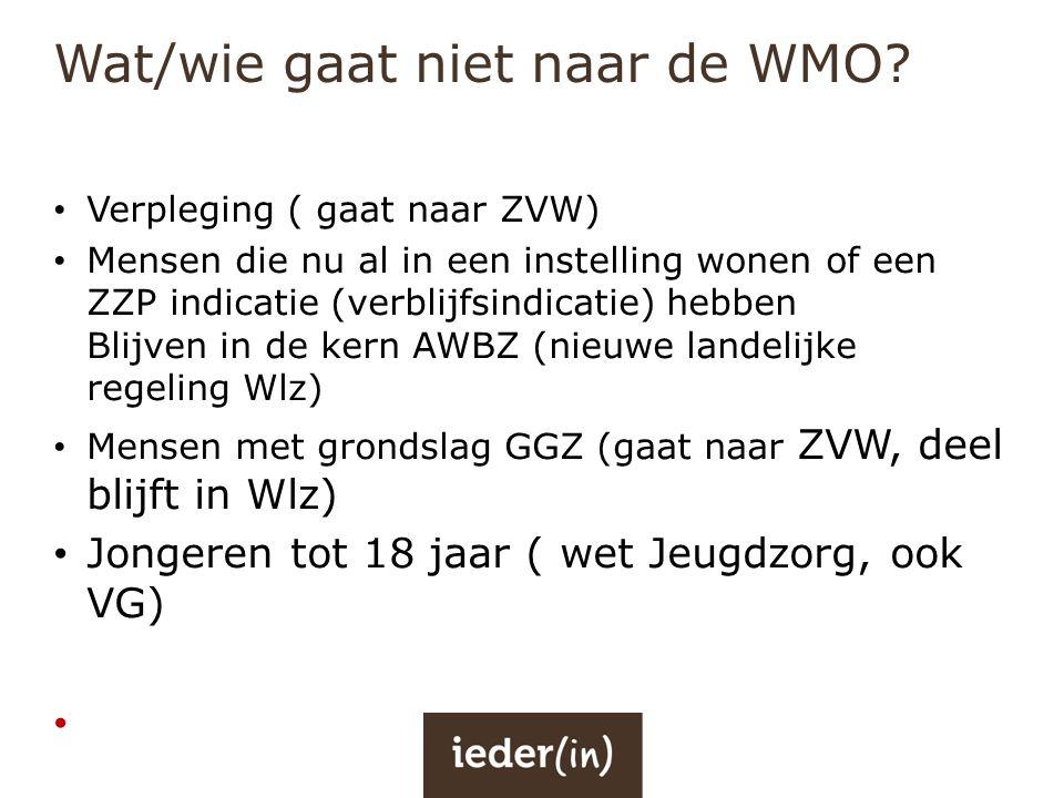 Wat/wie gaat niet naar de WMO