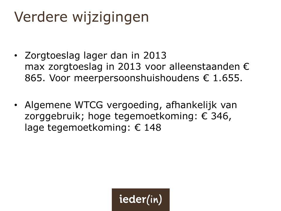 Verdere wijzigingen Zorgtoeslag lager dan in 2013 max zorgtoeslag in 2013 voor alleenstaanden € 865. Voor meerpersoonshuishoudens € 1.655.